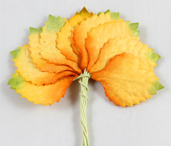 26mm Oval Embossed Mulberry Paper Leaves Yellow/Orange 10 pack