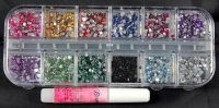 small 2mm diamante jewels assortment with glue