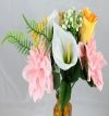 Calla Lilly Rose Bud and Dahlia Pink and Golden Yellow