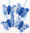 Organza Royal Blue Glitter Butterfly 4cm