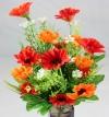 Mini Daisy Spring Bush Dark Orange/Red & Mid Orange Flowers