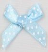 7mm Satin Ribbon Baby Blue / White Polker Dot Bow Pack of 10